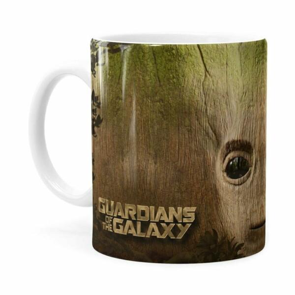 Caneca Groot 3d Print Guardiões Da Galaxia Branca