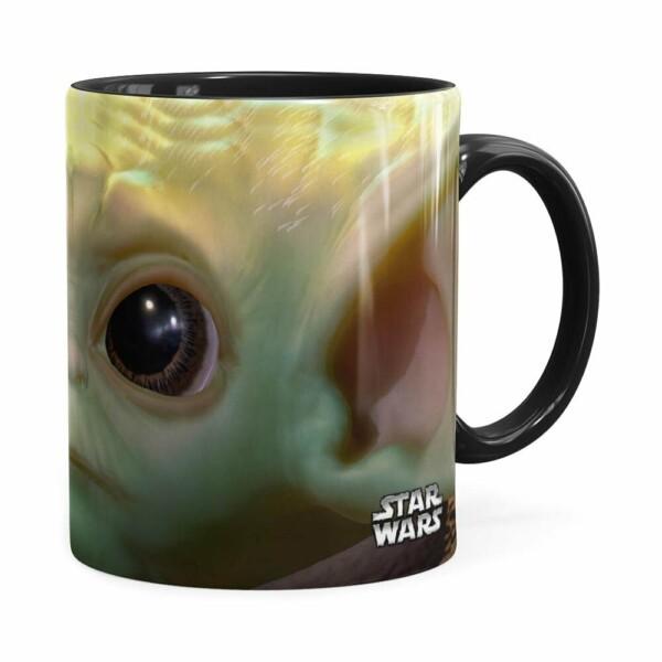 Caneca Baby Yoda 3d Print Star Wars Preta