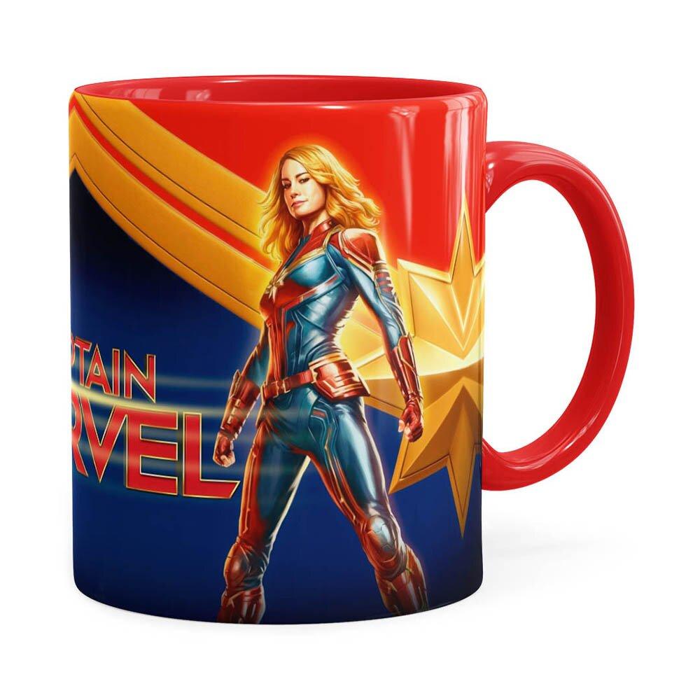 Caneca Capitã Marvel 3d Print Vermelha