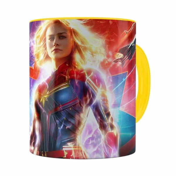 Caneca Capitã Marvel Filme V03 Amarela