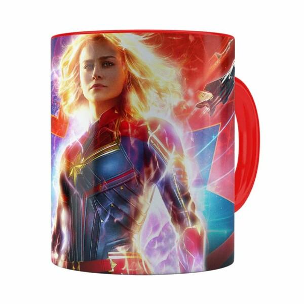 Caneca Capitã Marvel Filme V03 Vermelha