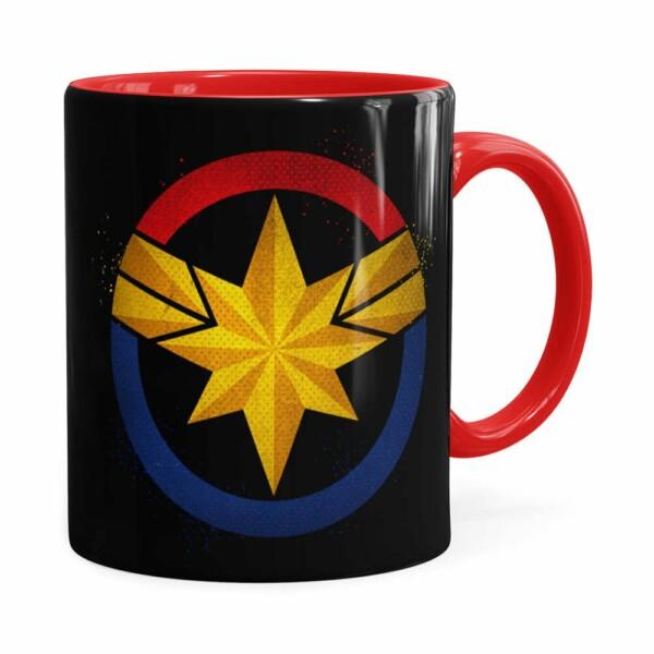 Caneca Capitã Marvel Filme V04 Vermelha
