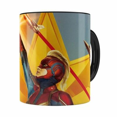 Caneca Capitã Marvel Filme V06 Preta