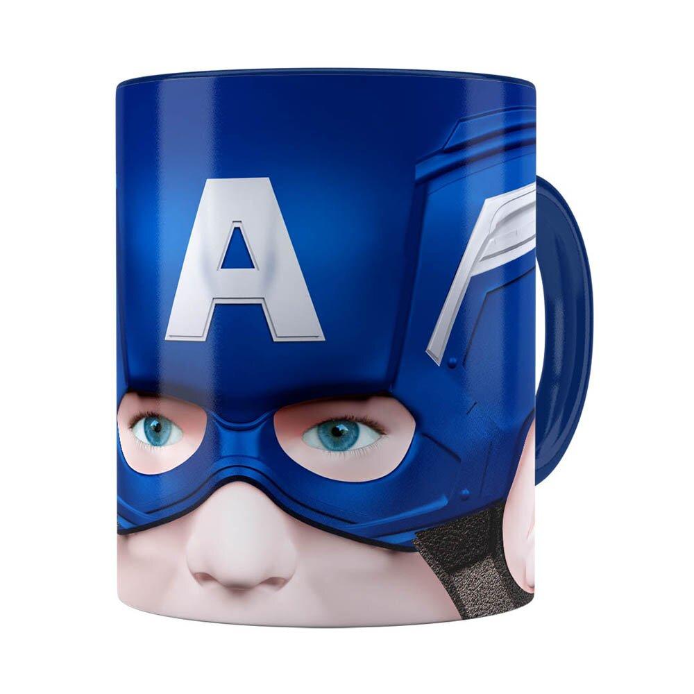 Caneca Capitão América 3d Print Azul Escuro