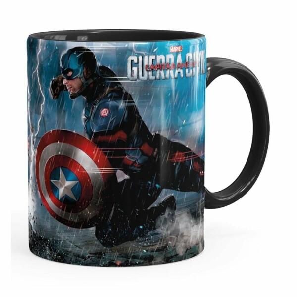 Caneca Capitão América Guerra Civil V01 Preta