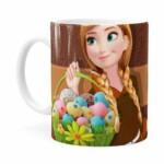 Caneca Chocolate Feliz Páscoa Frozen Anna V01 Branca