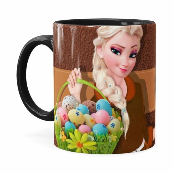 Caneca Chocolate Feliz Páscoa Frozen Elsa V01 Preta