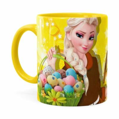 Caneca Chocolate Feliz Páscoa Frozen Elsa V02 Amarela