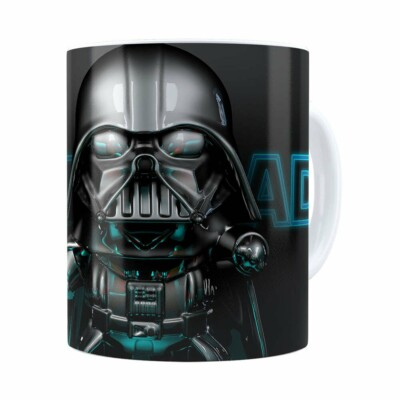 Caneca Darth Vader 3d Print Star Wars Blue Branca