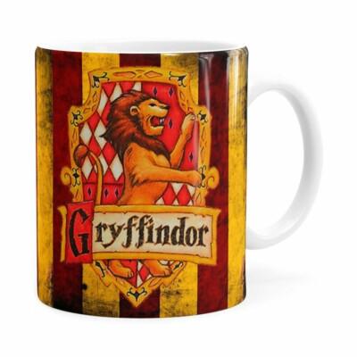Caneca Harry Potter Gryffindor Porcelana Branca