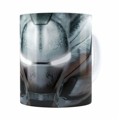 Caneca Homem De Ferro 3d Print Máquina De Combate Branca