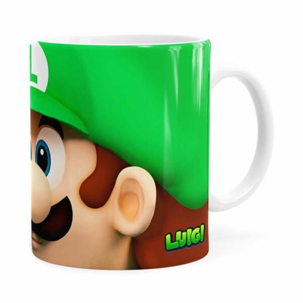 Caneca Luigi 3d Print Super Mario Branca