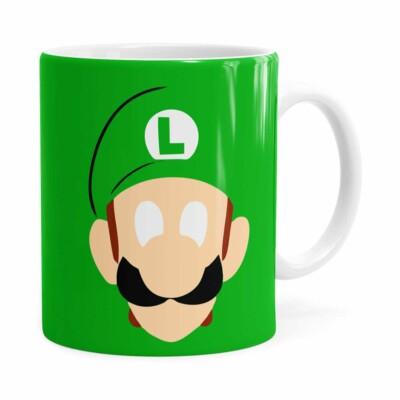 Caneca Luigi Super Mário Bros Anime Minimalista Branca