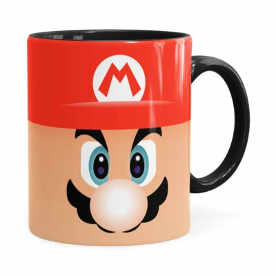 Caneca Mario Super Mario Bros Face Preta