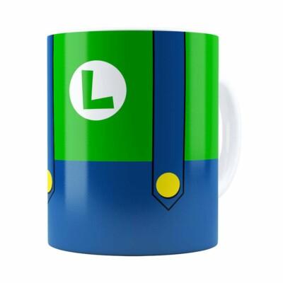 Caneca Super Mario Bros Luigi Uniforme Branca