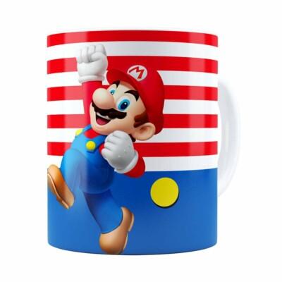 Caneca Super Mario Bros Mário Pulando Branca
