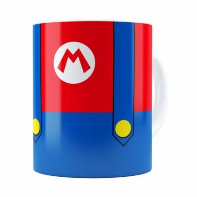 Caneca Super Mario Bros Mario Uniforme Branca