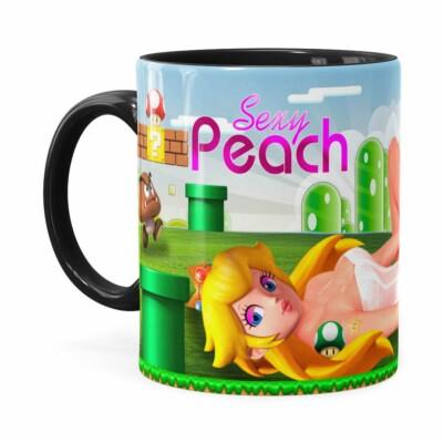 Caneca Super Mario Sexy Peach Preta