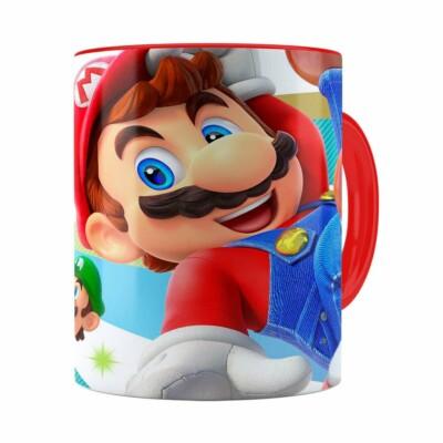 Caneca Super Mario Team 3d Print Vermelha