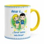 Caneca Amar é Torcer Juntos Pelo Brasil Amarela