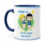Caneca Amar é Torcer Juntos Pelo Brasil Azul Escuro