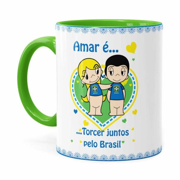 Caneca Amar é Torcer Juntos Pelo Brasil Verde Claro