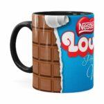 Caneca Chocolate Louca Por Você Preta