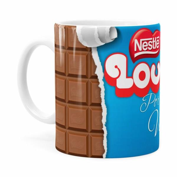 Caneca Chocolate Louco Por Você Branca