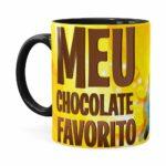 Caneca Chocolate Minions Meu Chocolate Favorito V01 Preta