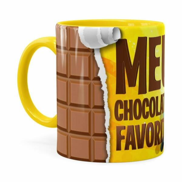 Caneca Chocolate Minions Meu Chocolate Favorito V02 Amarela