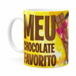 Caneca Chocolate Minions Meu Chocolate Favorito V04 Branca