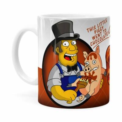 Caneca Chocolate Os Simpsons Farmer Billys Branca