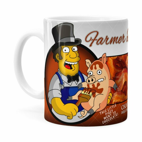 Caneca Chocolate Os Simpsons Farmer Billys Homer Branca