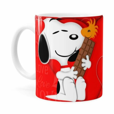 Caneca Chocolate Snoopy Love Branca