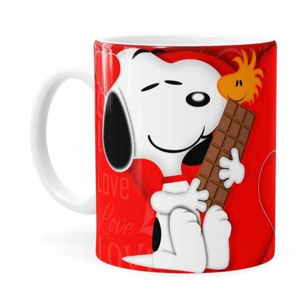Caneca Chocolate Snoopy Love Branca