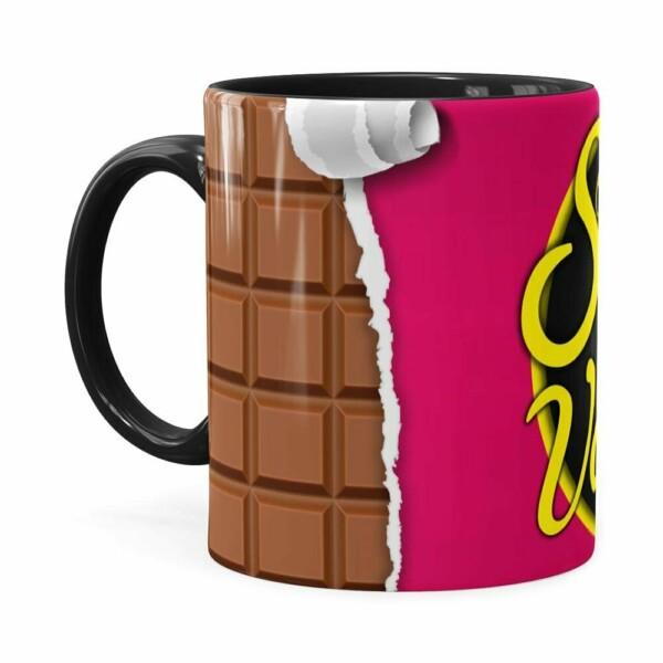 Caneca Chocolate Sonho De Valsa Com Você Preta