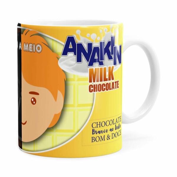 Caneca Chocolate Star Wars Darth E Anakin Branca