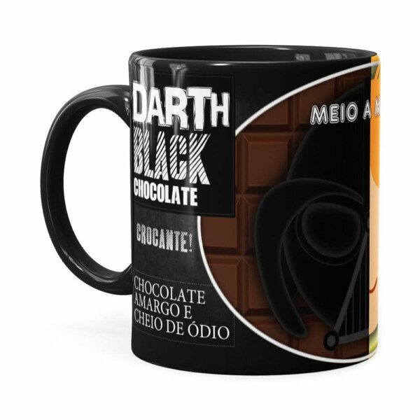 Caneca Chocolate Star Wars Darth E Anakin Preta