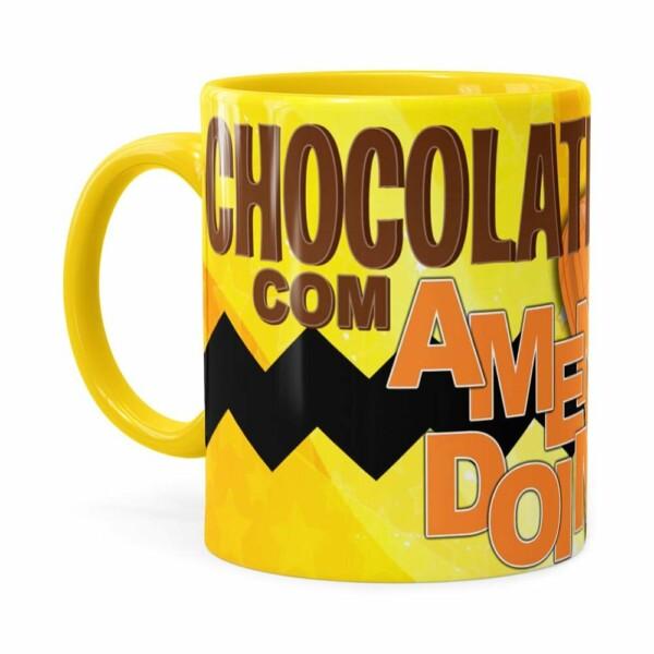 Caneca Peanuts Chocolate Com Amendoim Charlie Amarela