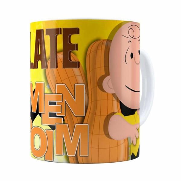 Caneca Peanuts Chocolate Com Amendoim Charlie Branca