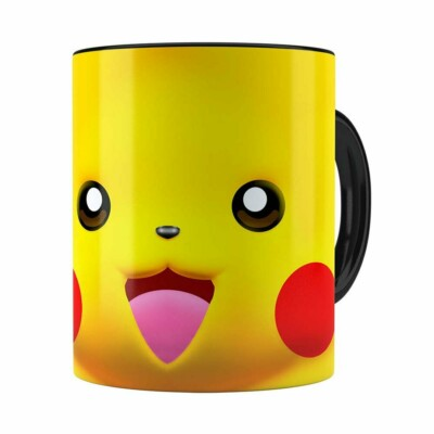 Caneca Pikachu 3d Print Pokémon Preta