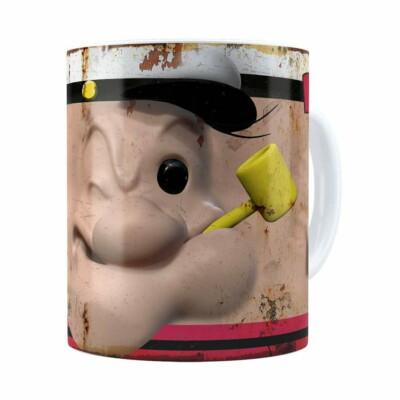 Caneca Popeye O Marinheiro 3d Print Retrô Branca