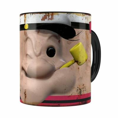 Caneca Popeye O Marinheiro 3d Print Retrô Preta