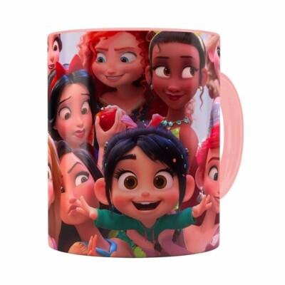 Caneca Selfie Das Princesas Disney Rosa