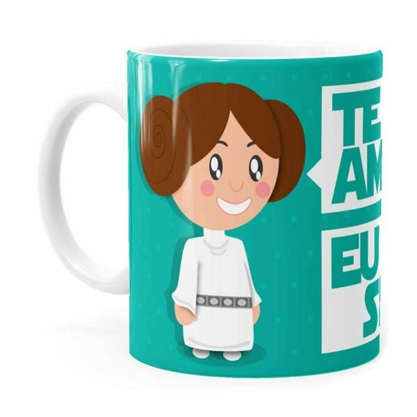 Caneca Star Wars Princesa Leia E Han Solo Te Amo Branca