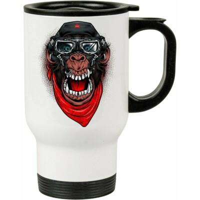 Caneca Térmica A Aventura Do Macaco Mau 500ml Branca