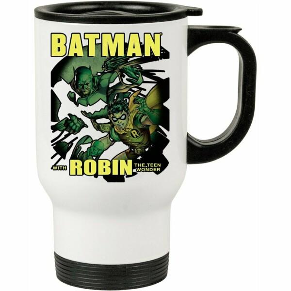 Caneca Térmica Batman And Robin 500ml Branca