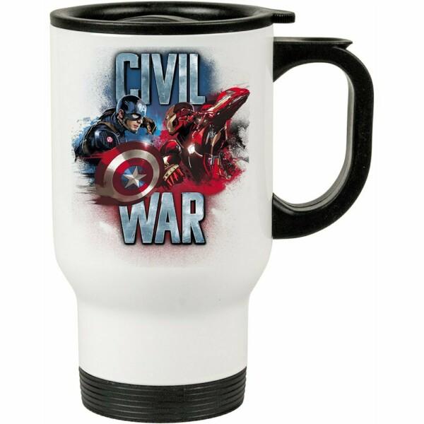Caneca Térmica Civil War Capitão América E Iron Man 500ml Branca