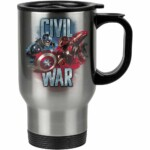 Caneca Térmica Civil War Capitão América E Iron Man 500ml Inox