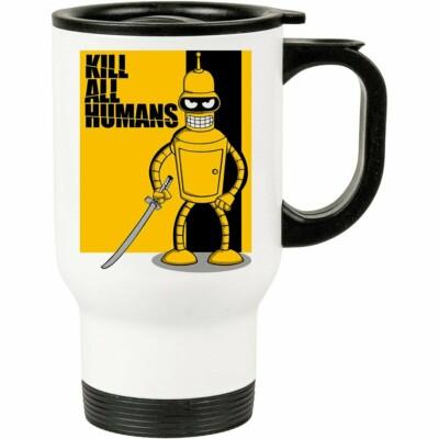 Caneca Térmica Futurama Kill All Humans 500ml Branca